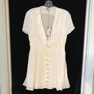 Show Me Your Mumu White Dress Button Front Satin S